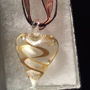 Glass Heart Pendant on dainty cord